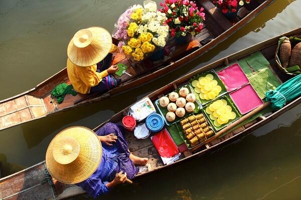 marché flottant Thaïlande